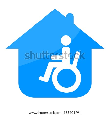 Handicap in the house sign - stock photo