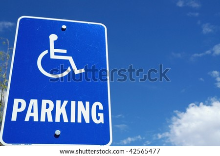 handicap parking sign room for your text - stock photo