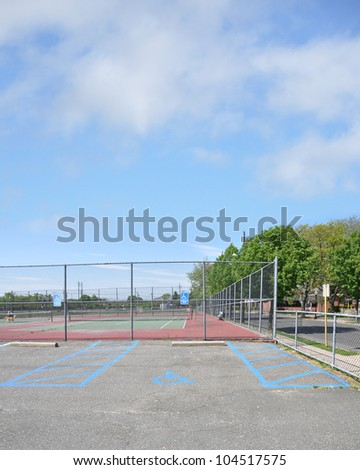 Handicap Parking Sign Tennis Court - stock photo