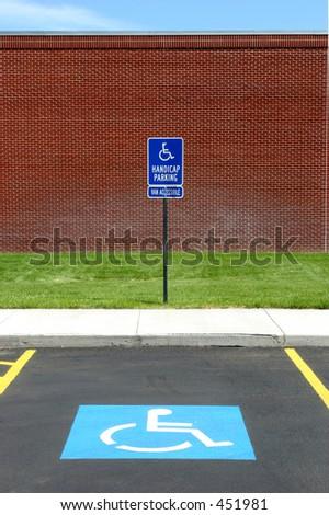 handicap parking spot at a college, van accessible - stock photo