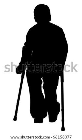 Handicap person with crutches - stock photo