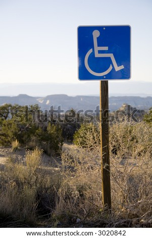 Handicap sign in the desert southwest - stock photo