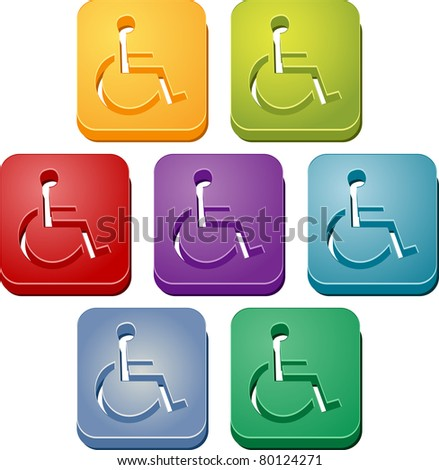 Handicap symbol button icon colored illustration set - stock photo