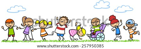 Handicapped children playing with other kids in nature - stock photo