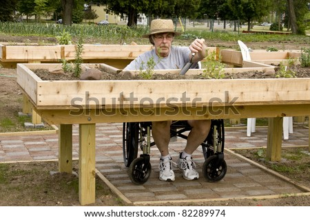 Stock images similar to id 55674310 handicapped man in a for Garden design ideas for disabled