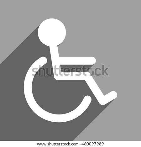 Handicapped long shadow glyph icon. Style is a flat handicapped white iconic symbol on a gray square background. - stock photo