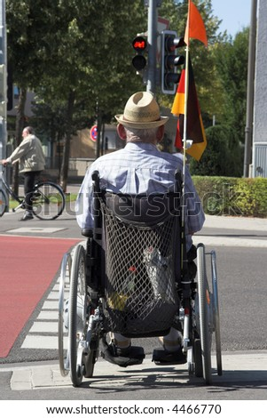Handicapped old man - stock photo