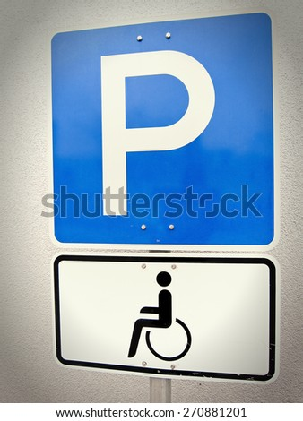 handicapped parking sign - stock photo
