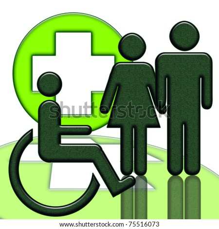 Handicapped person medical help icon isolated over white background - stock photo