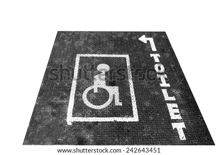 Handicapped sign on Rusty Surface of  old Checkered Plate isolate white background - stock photo