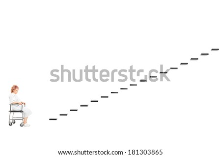 Handicapped woman in front of a staircase isolated on white background - stock photo