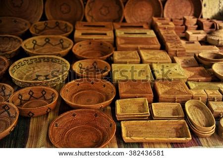 Handicraft at market, Ubud, Bali, Indonesia - stock photo