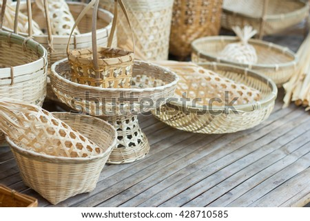 Handicraft of Bamboo and wicker Basket