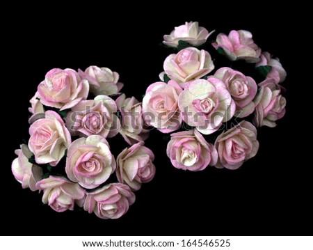 handicraft paper flower as pink rose - stock photo