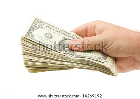 Handing Over Money Isolated on a White Background. - stock photo
