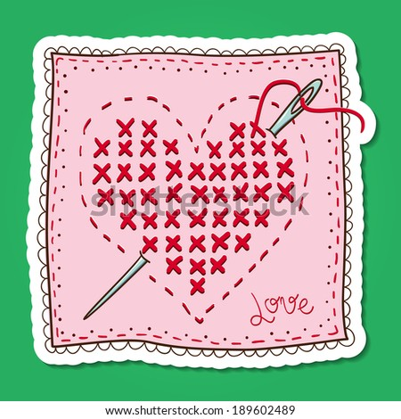 Handkerchief with heart embroidery. Paper sticker imitation. Romantic tender design