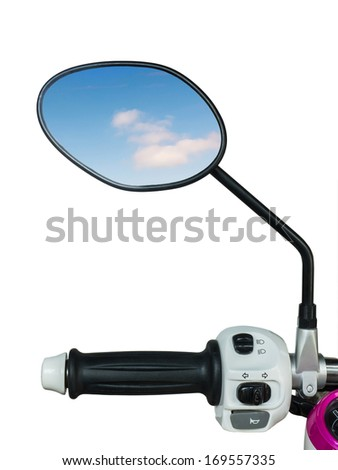 Handle and mirror  with reflected blue sky of motorcycle - stock photo