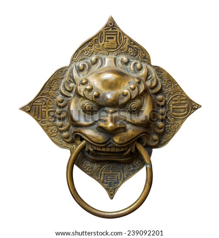 Handle door Chinese vintage style isolated with clipping path - stock photo