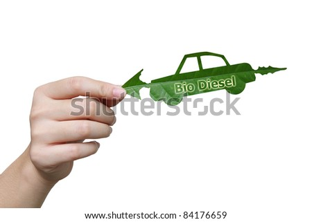 Handle leaves the car bio diesel image  eco concept - stock photo