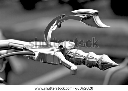 Handle - Motorbike closeup. - stock photo