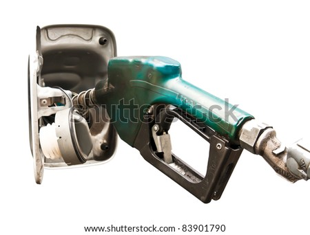 Handle of Dispensing fuel refueling petroleum isolated on white background - stock photo