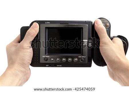 Handle Old Video Camcorder on white background. - stock photo