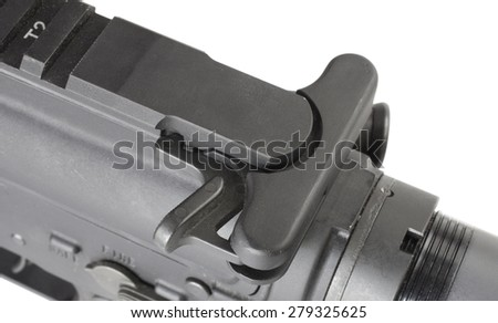 Handle on a modern sporting rifle used to chamber a cartridge - stock photo