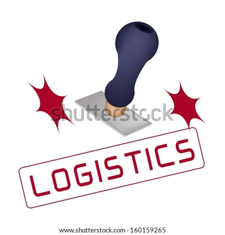 "Handle Stamper Ready to Stamping ""Logistics"" on White Background.  - stock photo"