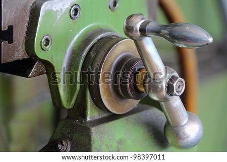 Handle winch of machine - stock photo