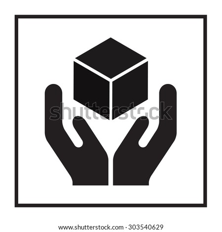 Handle with care sign. Fragile or packaging symbol.  - stock photo