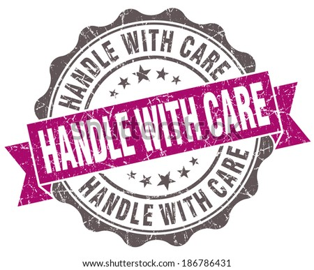 Handle with care violet grunge retro vintage isolated seal - stock photo