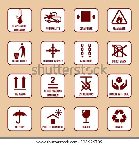 Handling and packing icons set with temperature limitation flammable no stack symbols  illustration