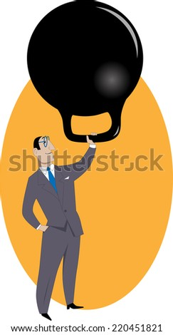Handling responsibilities. Businessman easily lifting a giant kettle bell weight, as a metaphor for a  workload or responsibilities  - stock photo