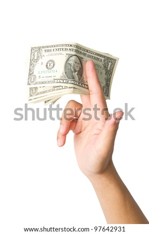 Handling us money, one  dollar bills on a white background
