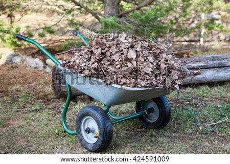 Handly wheelbarrow stands on land full of dry brawn leaf - stock photo