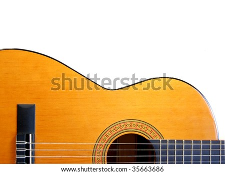 Handmade acoustic guitar instrument - stock photo