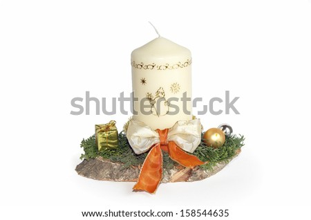 handmade advent spray with decorated candle and ribbon, isolated on white - stock photo