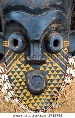 Handmade antique african mask, contain clipping paths, Ndebele tribe, Bulawayo, Zimbabwe - stock photo