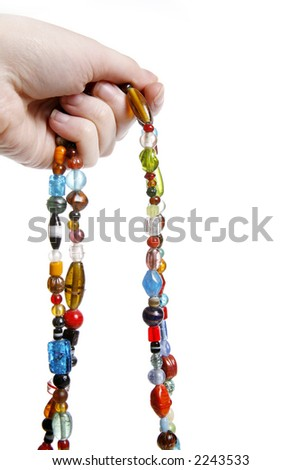 Handmade assorted bead necklace isolated on white
