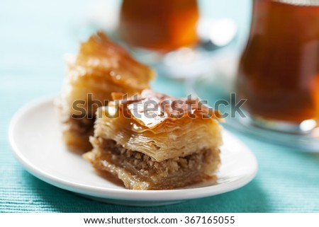 Handmade baklava, traditional turkish pastry