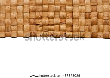 Handmade basket reed weave isolated - stock photo