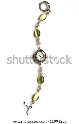 Handmade Beaded Watch on White Background - stock photo