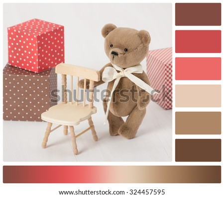 Handmade Bear Soft Toy. Traditional Teddy Style. Palette With Complimentary Colour Swatches. - stock photo