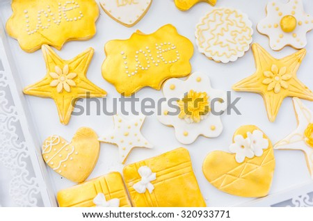 Handmade biscuits in the shape of stars, packed in a box