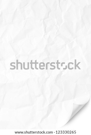 Handmade blank white crumpled Curved Corner page - stock photo