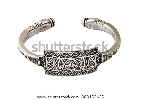 Handmade bracelet in silver on white background isolated with clipping path