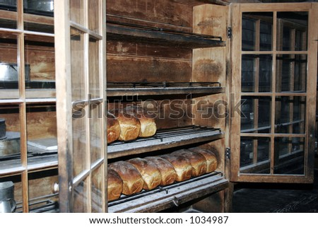Handmade bread in the traditional wooden bakery