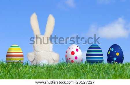 Handmade Bunny sitting along with Easter Eggs, grass field and blue sky background - stock photo