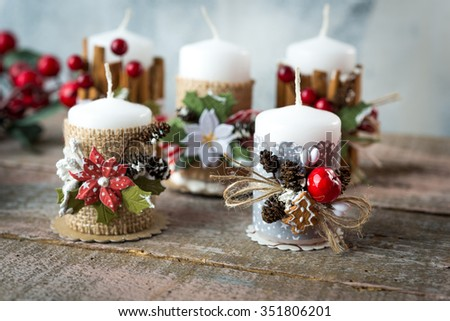 Handmade candle holder with  Christmas decoration - stock photo