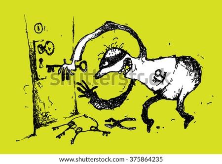 Handmade cartoon illustration of a burglar. - stock photo